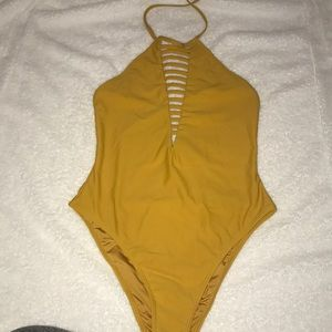 Yellow F21 One Piece Swimsuit